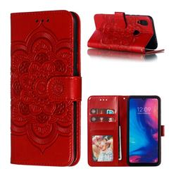 Intricate Embossing Datura Solar Leather Wallet Case for Mi Xiaomi Redmi 7 - Red