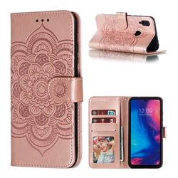 Intricate Embossing Datura Solar Leather Wallet Case for Mi Xiaomi Redmi 7 - Rose Gold