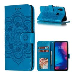 Intricate Embossing Datura Solar Leather Wallet Case for Mi Xiaomi Redmi 7 - Blue