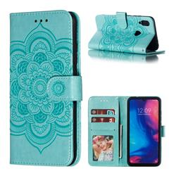 Intricate Embossing Datura Solar Leather Wallet Case for Mi Xiaomi Redmi 7 - Green