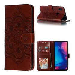 Intricate Embossing Datura Solar Leather Wallet Case for Mi Xiaomi Redmi 7 - Brown