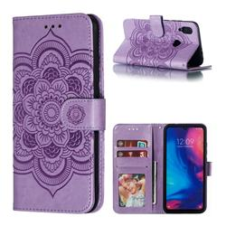 Intricate Embossing Datura Solar Leather Wallet Case for Mi Xiaomi Redmi 7 - Purple