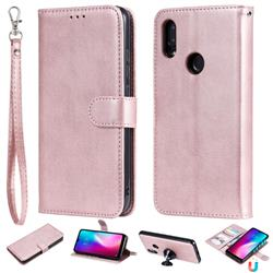 Retro Greek Detachable Magnetic PU Leather Wallet Phone Case for Mi Xiaomi Redmi 7 - Rose Gold
