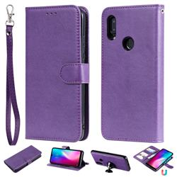 Retro Greek Detachable Magnetic PU Leather Wallet Phone Case for Mi Xiaomi Redmi 7 - Purple