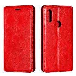 Retro Slim Magnetic Crazy Horse PU Leather Wallet Case for Mi Xiaomi Redmi 7 - Red