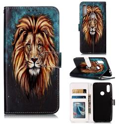 Ice Lion 3D Relief Oil PU Leather Wallet Case for Mi Xiaomi Redmi 7