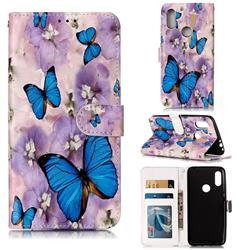 Purple Flowers Butterfly 3D Relief Oil PU Leather Wallet Case for Mi Xiaomi Redmi 7