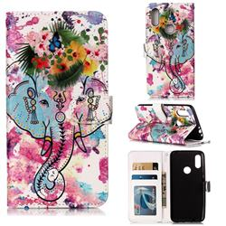 Flower Elephant 3D Relief Oil PU Leather Wallet Case for Mi Xiaomi Redmi 7