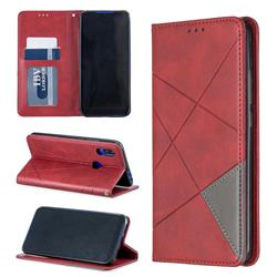 Prismatic Slim Magnetic Sucking Stitching Wallet Flip Cover for Mi Xiaomi Redmi 7 - Red