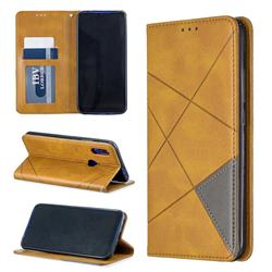 Prismatic Slim Magnetic Sucking Stitching Wallet Flip Cover for Mi Xiaomi Redmi 7 - Yellow