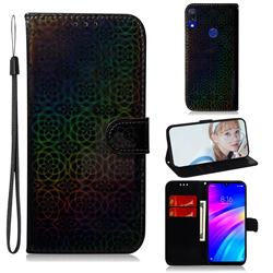 Laser Circle Shining Leather Wallet Phone Case for Mi Xiaomi Redmi 7 - Black