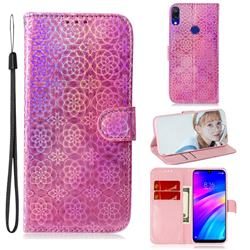 Laser Circle Shining Leather Wallet Phone Case for Mi Xiaomi Redmi 7 - Pink