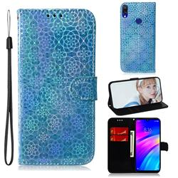 Laser Circle Shining Leather Wallet Phone Case for Mi Xiaomi Redmi 7 - Blue