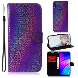 Laser Circle Shining Leather Wallet Phone Case for Mi Xiaomi Redmi 7 - Purple