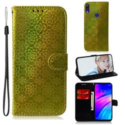 Laser Circle Shining Leather Wallet Phone Case for Mi Xiaomi Redmi 7 - Golden