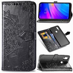 Embossing Imprint Mandala Flower Leather Wallet Case for Mi Xiaomi Redmi 7 - Black
