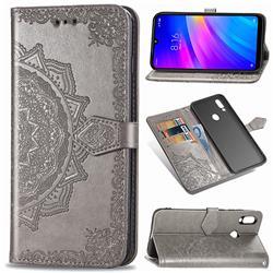 Embossing Imprint Mandala Flower Leather Wallet Case for Mi Xiaomi Redmi 7 - Gray