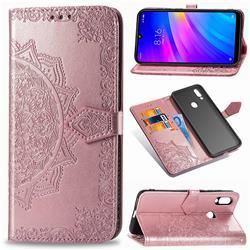 Embossing Imprint Mandala Flower Leather Wallet Case for Mi Xiaomi Redmi 7 - Rose Gold