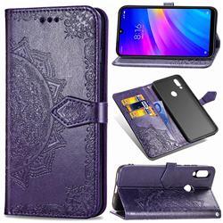 Embossing Imprint Mandala Flower Leather Wallet Case for Mi Xiaomi Redmi 7 - Purple