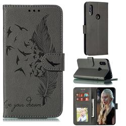 Intricate Embossing Lychee Feather Bird Leather Wallet Case for Mi Xiaomi Redmi 7 - Gray