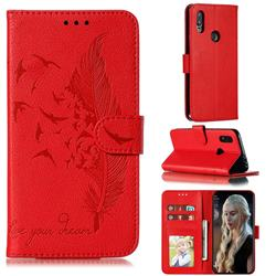 Intricate Embossing Lychee Feather Bird Leather Wallet Case for Mi Xiaomi Redmi 7 - Red