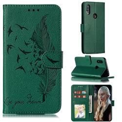 Intricate Embossing Lychee Feather Bird Leather Wallet Case for Mi Xiaomi Redmi 7 - Green