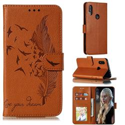 Intricate Embossing Lychee Feather Bird Leather Wallet Case for Mi Xiaomi Redmi 7 - Brown