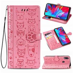 Embossing Dog Paw Kitten and Puppy Leather Wallet Case for Mi Xiaomi Redmi 7 - Pink