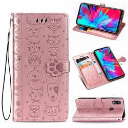 Embossing Dog Paw Kitten and Puppy Leather Wallet Case for Mi Xiaomi Redmi 7 - Rose Gold