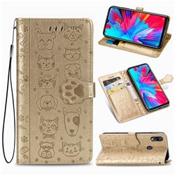 Embossing Dog Paw Kitten and Puppy Leather Wallet Case for Mi Xiaomi Redmi 7 - Champagne Gold
