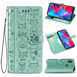 Embossing Dog Paw Kitten and Puppy Leather Wallet Case for Mi Xiaomi Redmi 7 - Green