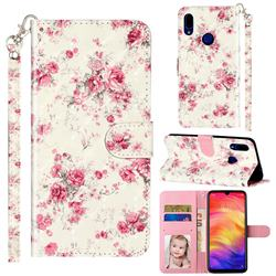Rambler Rose Flower 3D Leather Phone Holster Wallet Case for Mi Xiaomi Redmi 7