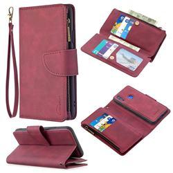 Binfen Color BF02 Sensory Buckle Zipper Multifunction Leather Phone Wallet for Mi Xiaomi Redmi 7 - Red Wine