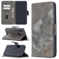 BinfenColor BF04 Color Block Stitching Crocodile Leather Case Cover for Mi Xiaomi Redmi 7 - Gray