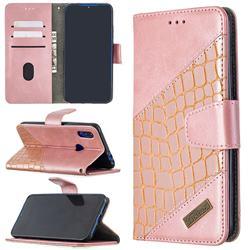 BinfenColor BF04 Color Block Stitching Crocodile Leather Case Cover for Mi Xiaomi Redmi 7 - Rose Gold