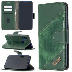 BinfenColor BF04 Color Block Stitching Crocodile Leather Case Cover for Mi Xiaomi Redmi 7 - Green