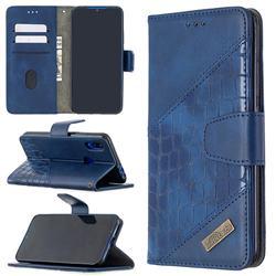 BinfenColor BF04 Color Block Stitching Crocodile Leather Case Cover for Mi Xiaomi Redmi 7 - Blue