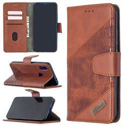 BinfenColor BF04 Color Block Stitching Crocodile Leather Case Cover for Mi Xiaomi Redmi 7 - Brown