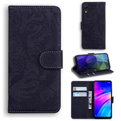 Intricate Embossing Tiger Face Leather Wallet Case for Mi Xiaomi Redmi 7 - Black