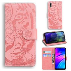 Intricate Embossing Tiger Face Leather Wallet Case for Mi Xiaomi Redmi 7 - Pink