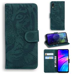 Intricate Embossing Tiger Face Leather Wallet Case for Mi Xiaomi Redmi 7 - Green