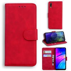Retro Classic Skin Feel Leather Wallet Phone Case for Mi Xiaomi Redmi 7 - Red
