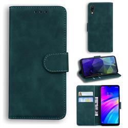 Retro Classic Skin Feel Leather Wallet Phone Case for Mi Xiaomi Redmi 7 - Green
