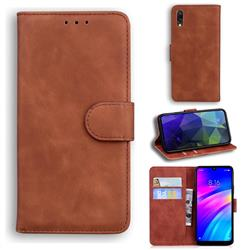 Retro Classic Skin Feel Leather Wallet Phone Case for Mi Xiaomi Redmi 7 - Brown