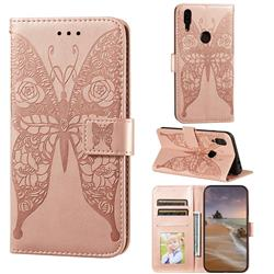 Intricate Embossing Rose Flower Butterfly Leather Wallet Case for Mi Xiaomi Redmi 7 - Rose Gold