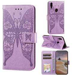 Intricate Embossing Rose Flower Butterfly Leather Wallet Case for Mi Xiaomi Redmi 7 - Purple