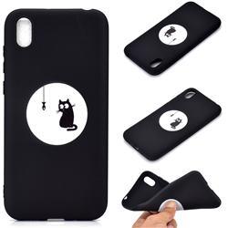 Fish Fishing Cat Chalk Drawing Matte Black TPU Phone Cover for Mi Xiaomi Redmi 7A