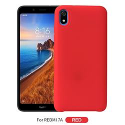 Howmak Slim Liquid Silicone Rubber Shockproof Phone Case Cover for Mi Xiaomi Redmi 7A - Red