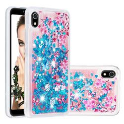 Blue Plum Blossom Dynamic Liquid Glitter Quicksand Soft TPU Case for Mi Xiaomi Redmi 7A