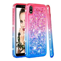Diamond Frame Liquid Glitter Quicksand Sequins Phone Case for Mi Xiaomi Redmi 7A - Pink Blue